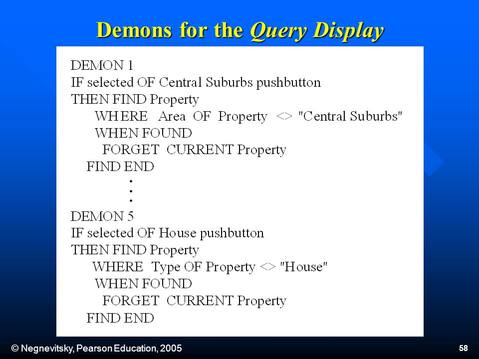 © Negnevitsky, Pearson Education, 2005 58 Demons for the Query Display