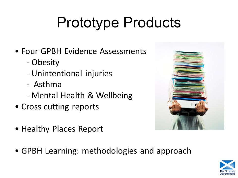 Prototype Products Four GPBH Evidence Assessments - Obesity - Unintentional injuries - Asthma - Mental Health & Wellbeing Cross cutting reports Health