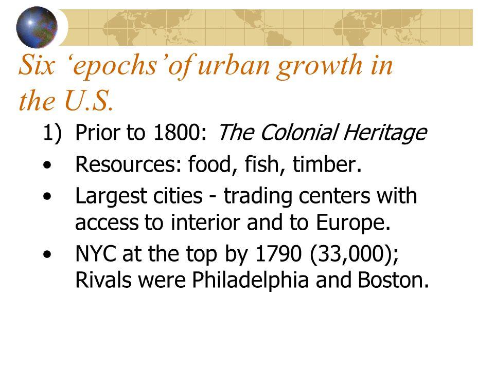 Six 'epochs'of urban growth in the U.S.