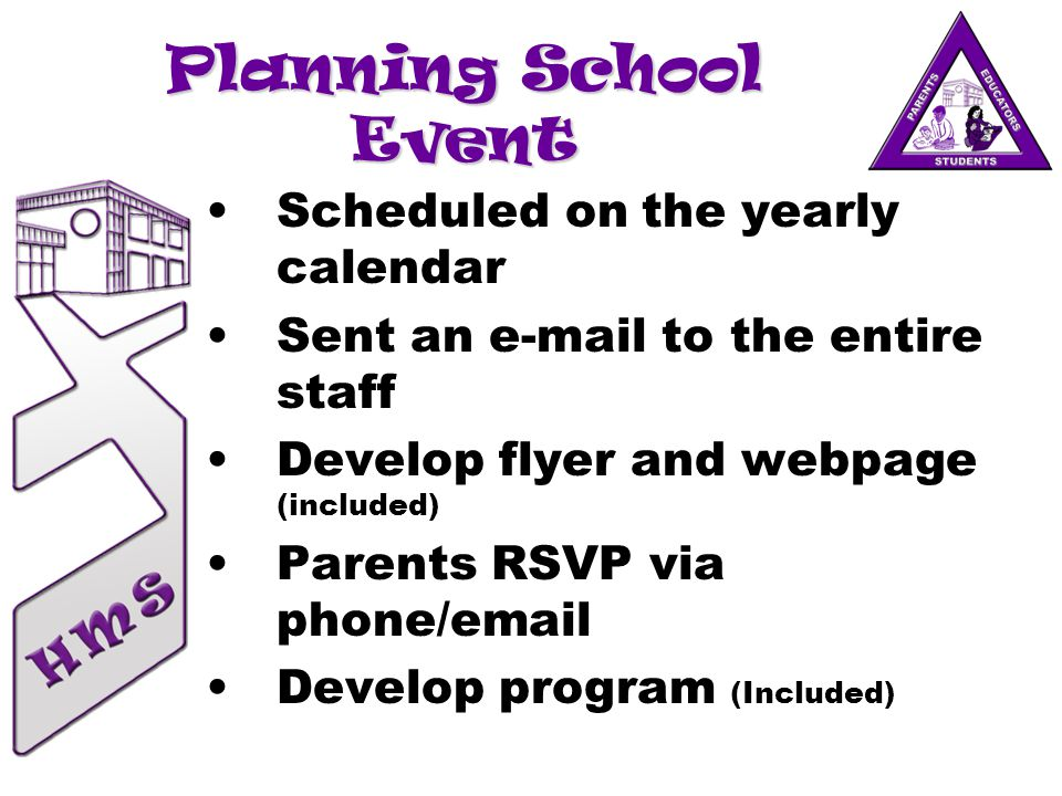 Planning School Event Scheduled on the yearly calendar Sent an e-mail to the entire staff Develop flyer and webpage (included) Parents RSVP via phone/email Develop program (Included)