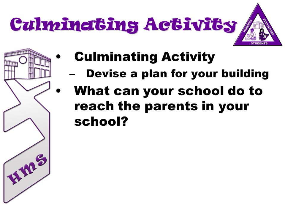 Culminating Activity –Devise a plan for your building What can your school do to reach the parents in your school?