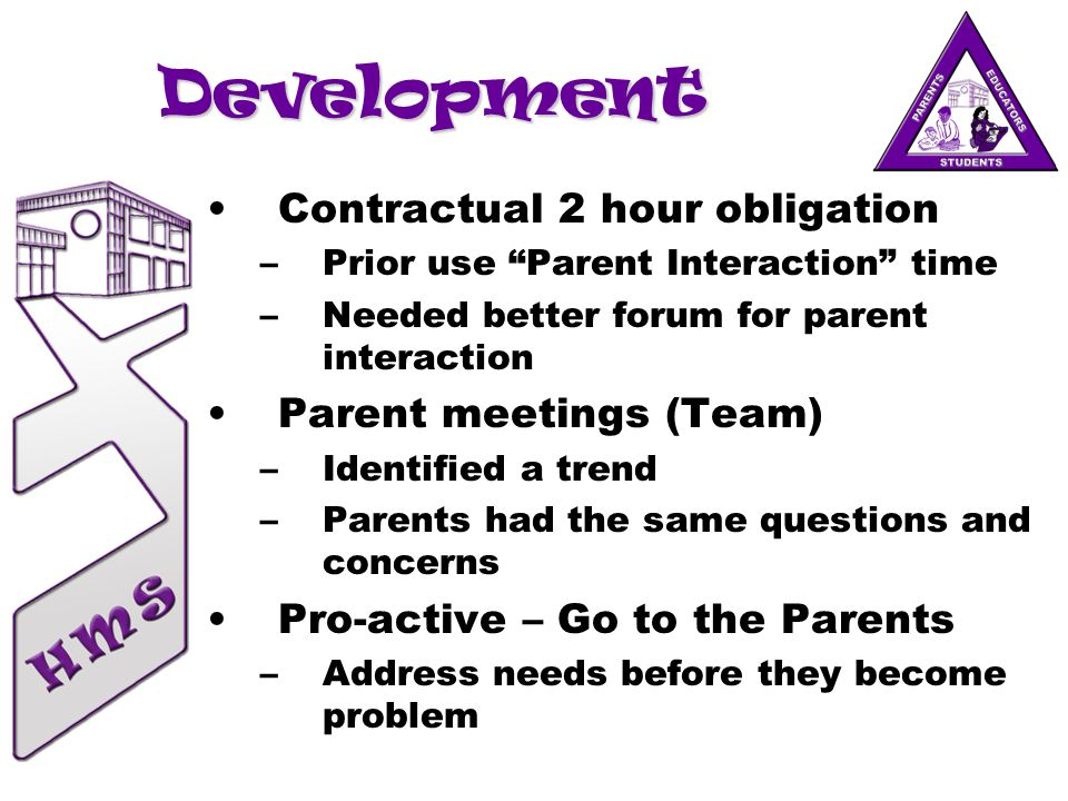 Development Contractual 2 hour obligation –Prior use Parent Interaction time –Needed better forum for parent interaction Parent meetings (Team) –Identified a trend –Parents had the same questions and concerns Pro-active – Go to the Parents –Address needs before they become problem