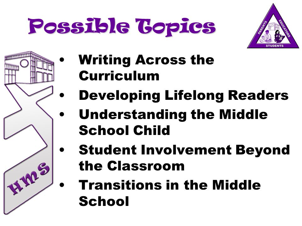 Possible Topics Writing Across the Curriculum Developing Lifelong Readers Understanding the Middle School Child Student Involvement Beyond the Classro