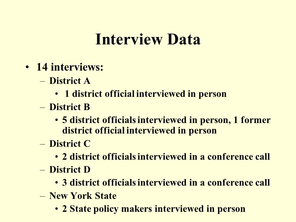 Interview Data 14 interviews: –District A 1 district official interviewed in person –District B 5 district officials interviewed in person, 1 former district official interviewed in person –District C 2 district officials interviewed in a conference call –District D 3 district officials interviewed in a conference call –New York State 2 State policy makers interviewed in person