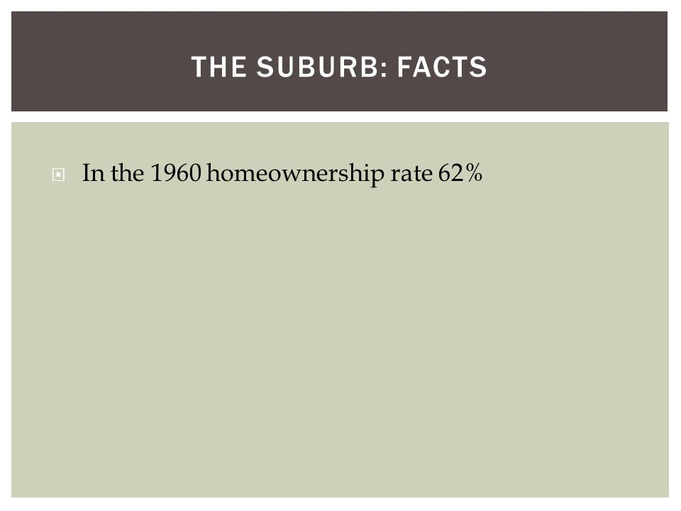 THE SUBURB: FACTS  In the 1960 homeownership rate 62%
