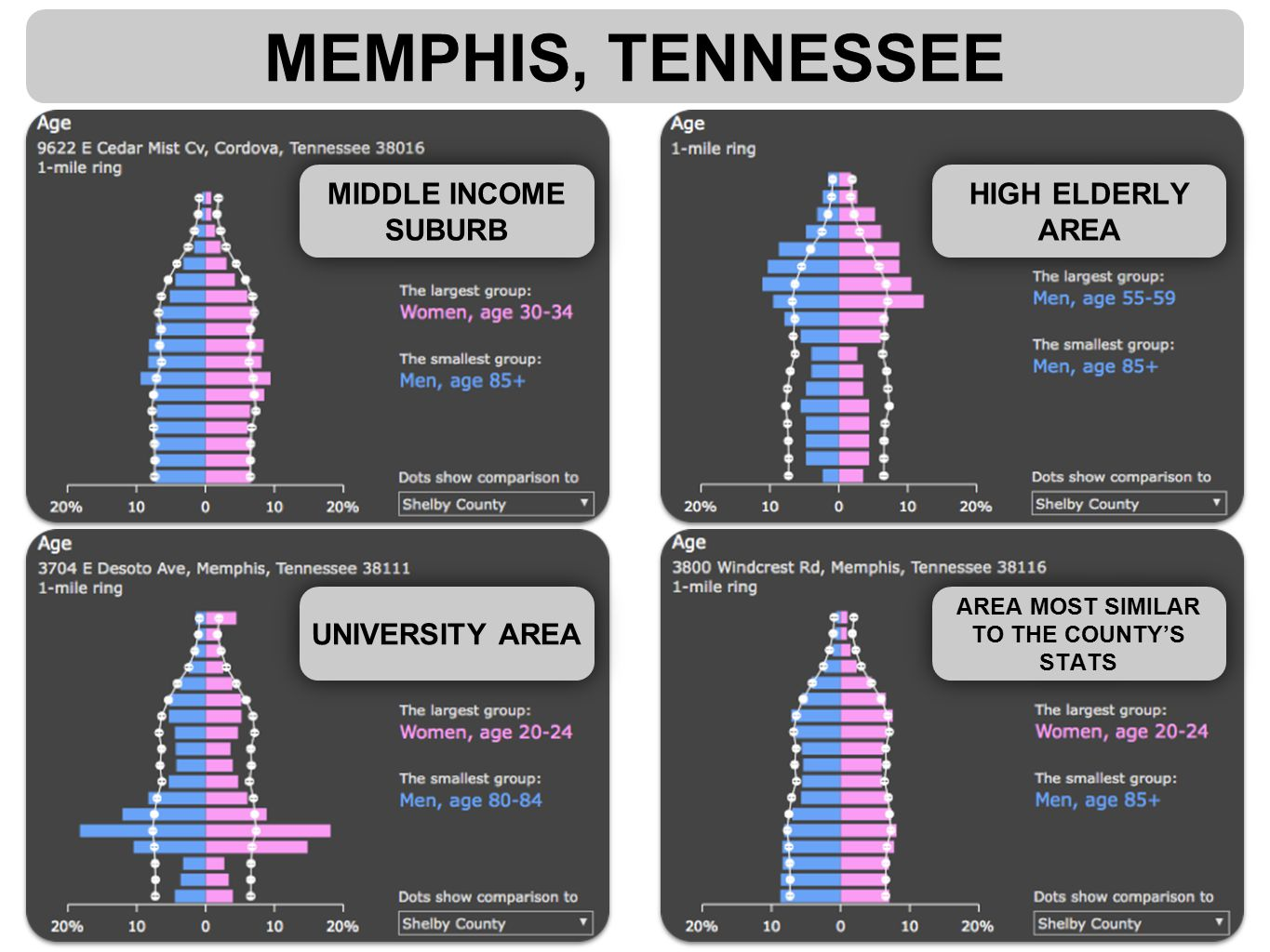 MEMPHIS, TENNESSEE MIDDLE INCOME SUBURB HIGH ELDERLY AREA AREA MOST SIMILAR TO THE COUNTY'S STATS UNIVERSITY AREA