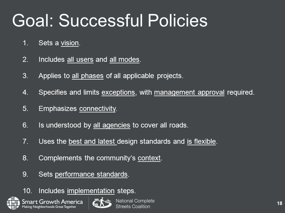 Goal: Successful Policies 1.Sets a vision. 2.Includes all users and all modes.