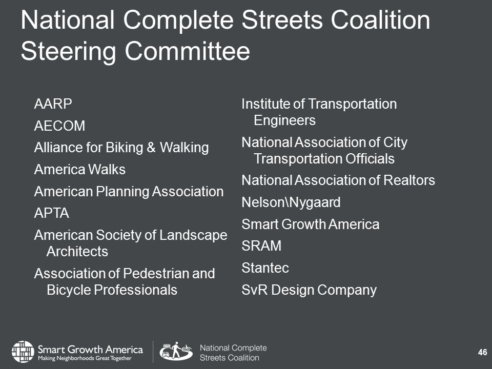 National Complete Streets Coalition Steering Committee 46 AARP AECOM Alliance for Biking & Walking America Walks American Planning Association APTA American Society of Landscape Architects Association of Pedestrian and Bicycle Professionals Institute of Transportation Engineers National Association of City Transportation Officials National Association of Realtors Nelson\Nygaard Smart Growth America SRAM Stantec SvR Design Company
