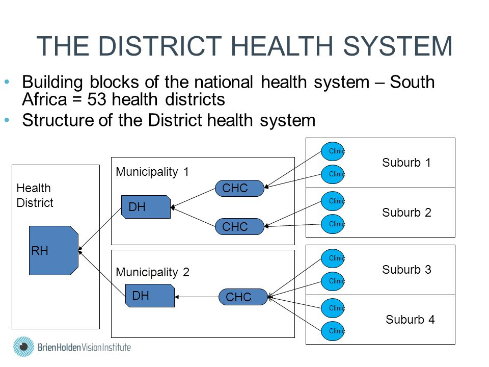 Suburb 2 Municipality 1 Municipality 2 THE DISTRICT HEALTH SYSTEM Building blocks of the national health system – South Africa = 53 health districts Structure of the District health system Health District CHC Clinic Suburb 1 Clinic Suburb 3 Clinic Suburb 4 Clinic DH RH