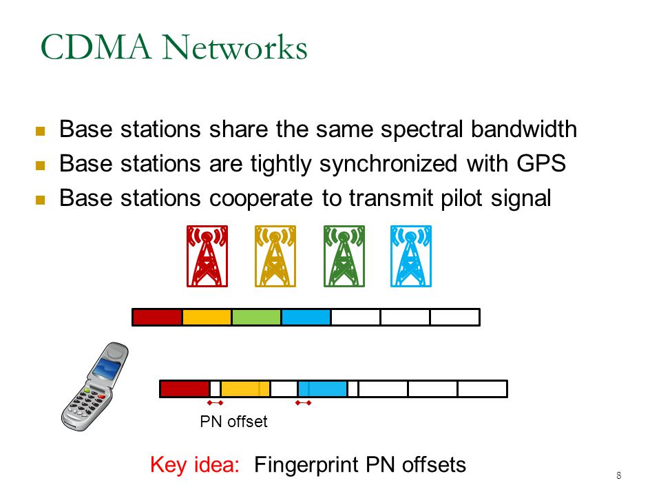 8 CDMA Networks Base stations share the same spectral bandwidth Base stations are tightly synchronized with GPS Base stations cooperate to transmit pilot signal PN offset Key idea: Fingerprint PN offsets