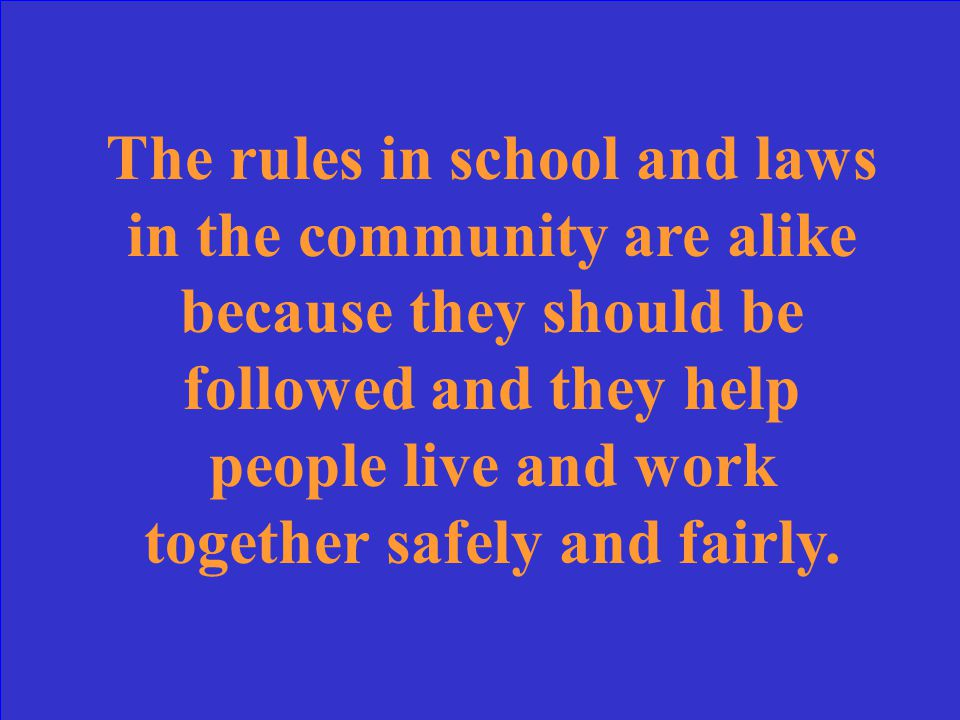 In what ways are the rules in your school like the rules in your community