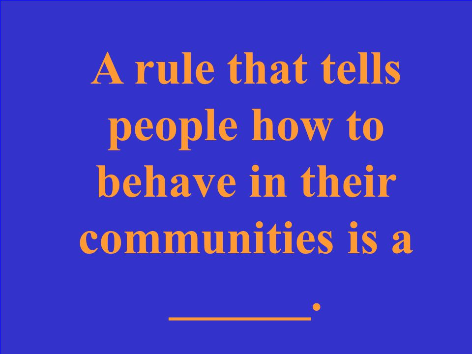 A rule that tells people how to behave in their communities is a ______.