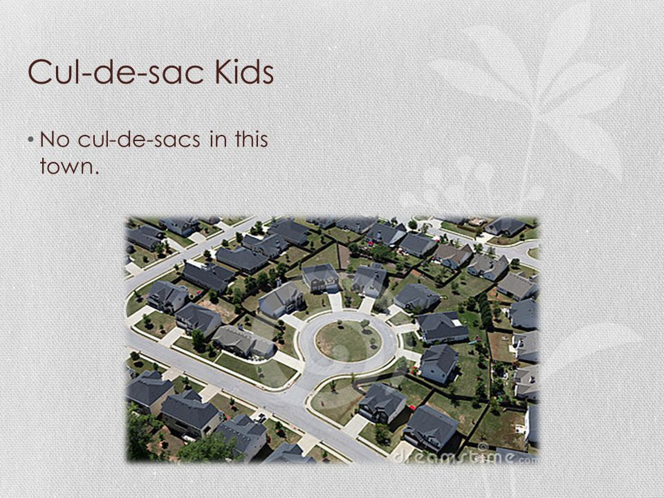 Cul-de-sac Kids No cul-de-sacs in this town.