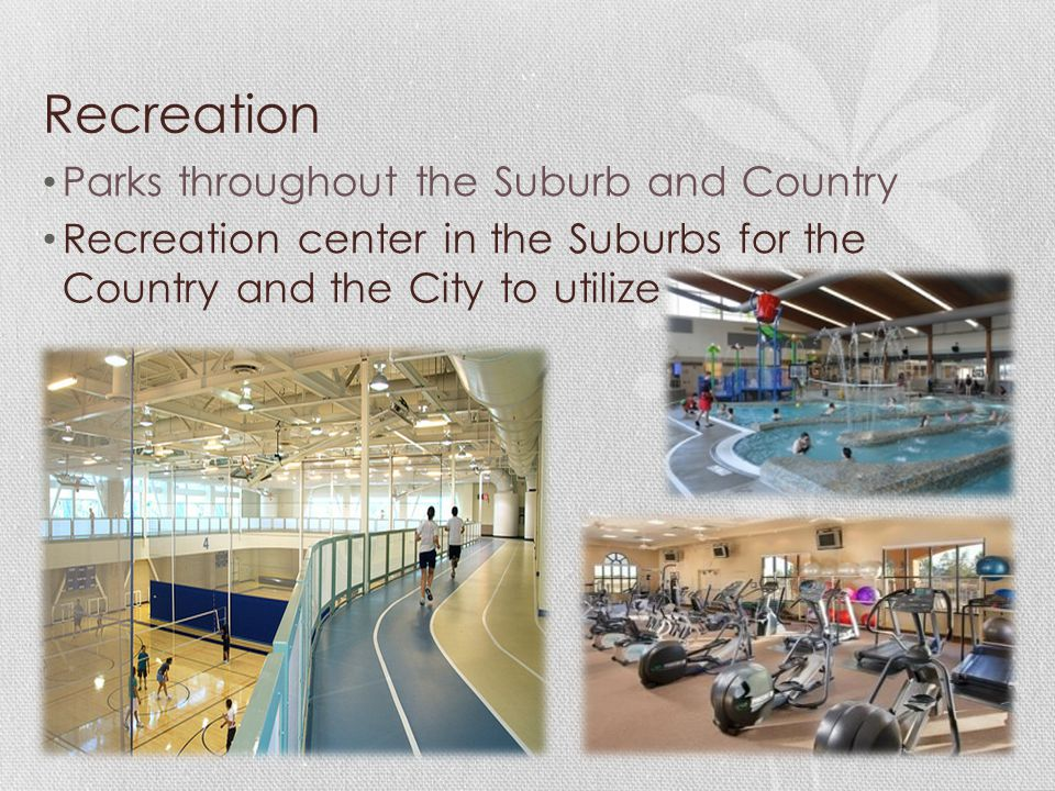 Recreation Parks throughout the Suburb and Country Recreation center in the Suburbs for the Country and the City to utilize