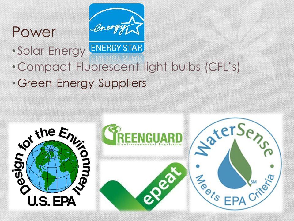 Power Solar Energy Compact Fluorescent light bulbs (CFL's) Green Energy Suppliers