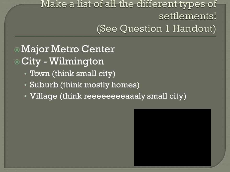  Major Metro Center  City - Wilmington Town (think small city) Suburb (think mostly homes) Village (think reeeeeeeeaaaly small city)