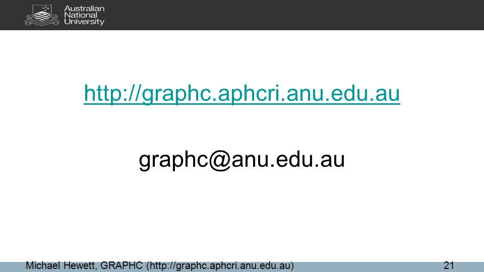 http://graphc.aphcri.anu.edu.au graphc@anu.edu.au Michael Hewett, GRAPHC (http://graphc.aphcri.anu.edu.au)21