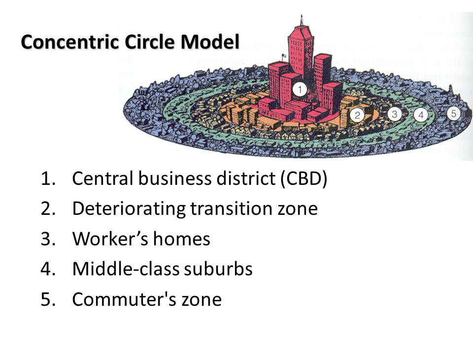 Concentric Circle Model 1.Central business district (CBD) 2.Deteriorating transition zone 3.Worker's homes 4.Middle-class suburbs 5.Commuter's zone