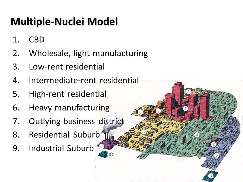 Multiple-Nuclei Model 1.CBD 2.Wholesale, light manufacturing 3.Low-rent residential 4.Intermediate-rent residential 5.High-rent residential 6.Heavy ma