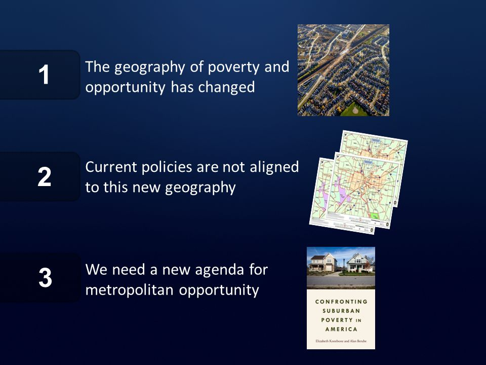 1 The geography of poverty and opportunity has changed Current policies are not aligned to this new geography 2 3 We need a new agenda for metropolitan opportunity