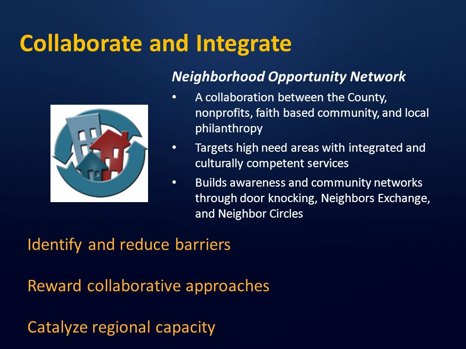Collaborate and Integrate Identify and reduce barriers Catalyze regional capacity Reward collaborative approaches Neighborhood Opportunity Network A collaboration between the County, nonprofits, faith based community, and local philanthropy Targets high need areas with integrated and culturally competent services Builds awareness and community networks through door knocking, Neighbors Exchange, and Neighbor Circles