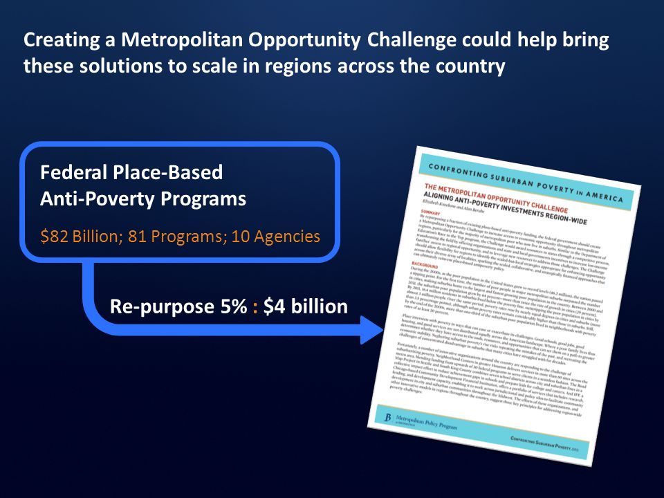 Creating a Metropolitan Opportunity Challenge could help bring these solutions to scale in regions across the country Federal Place-Based Anti-Poverty