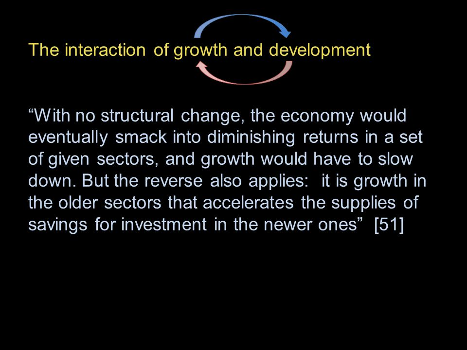 The interaction of growth and development With no structural change, the economy would eventually smack into diminishing returns in a set of given sectors, and growth would have to slow down.