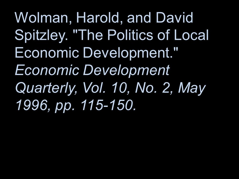 Wolman, Harold, and David Spitzley.