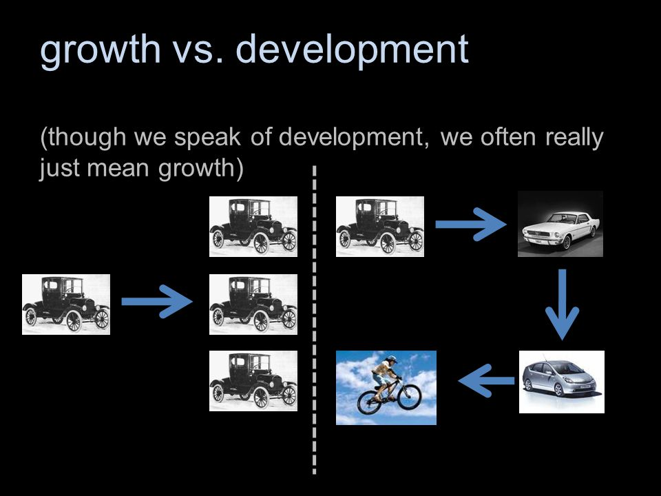 growth vs. development (though we speak of development, we often really just mean growth)