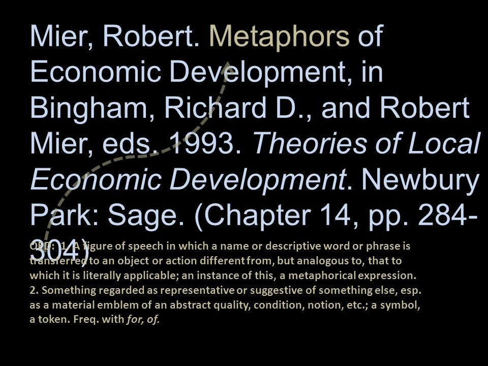 Mier, Robert. Metaphors of Economic Development, in Bingham, Richard D., and Robert Mier, eds.