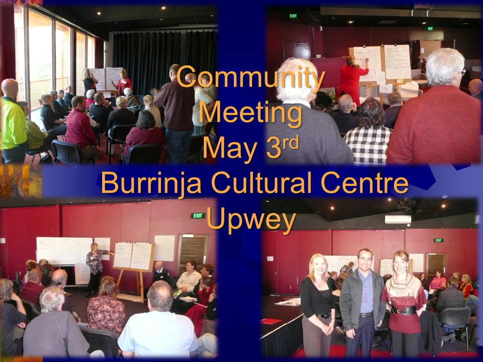 Community Meeting May 3 rd Burrinja Cultural Centre Upwey