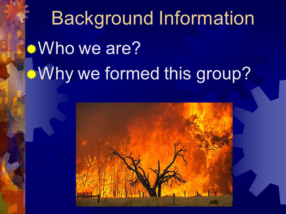 Background Information  Who we are  Why we formed this group