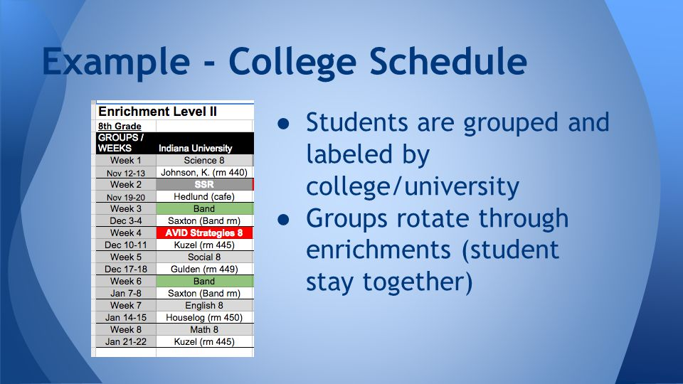 ● Students are grouped and labeled by college/university ● Groups rotate through enrichments (student stay together) Example - College Schedule