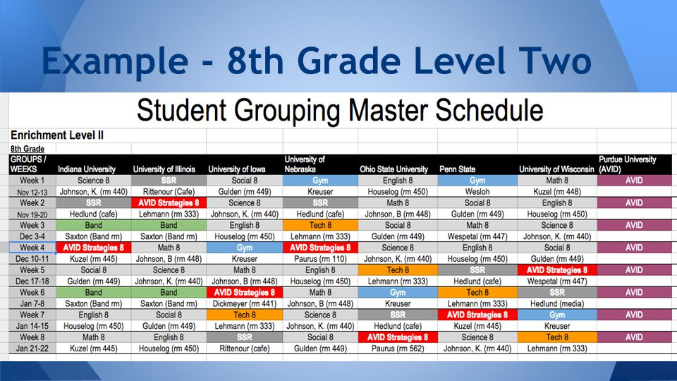 Example - 8th Grade Level Two