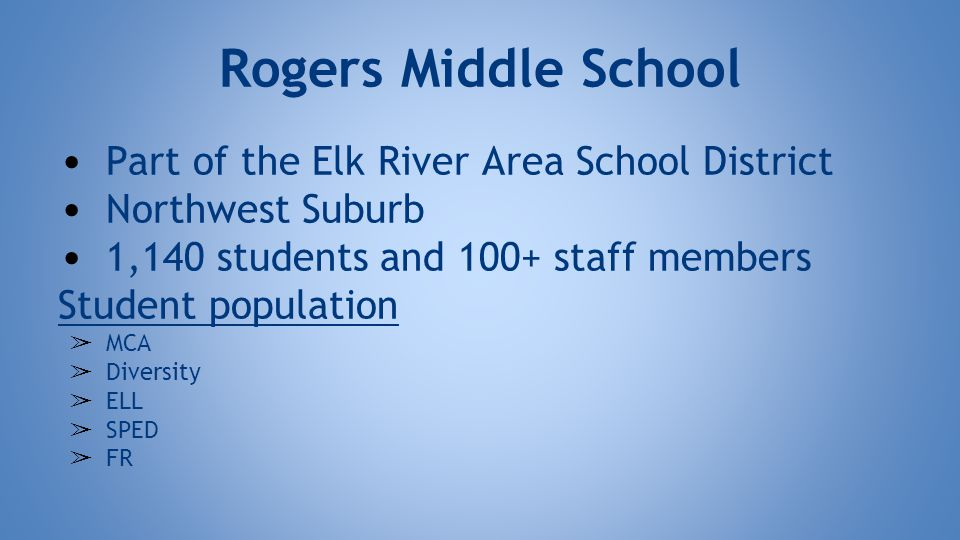 Rogers Middle School Part of the Elk River Area School District Northwest Suburb 1,140 students and 100+ staff members Student population ➢ MCA ➢ Diversity ➢ ELL ➢ SPED ➢ FR