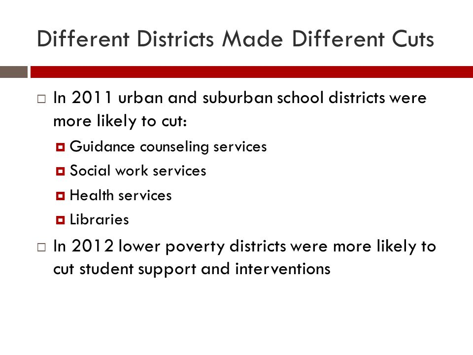 Different Districts Made Different Cuts  In 2011 urban and suburban school districts were more likely to cut:  Guidance counseling services  Social work services  Health services  Libraries  In 2012 lower poverty districts were more likely to cut student support and interventions
