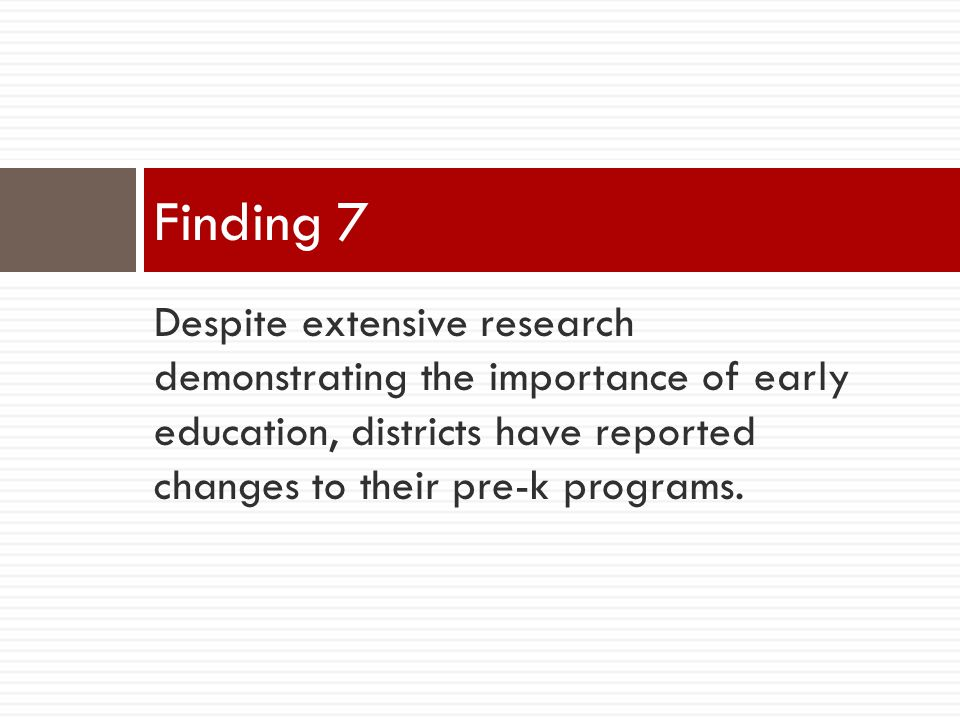 Despite extensive research demonstrating the importance of early education, districts have reported changes to their pre-k programs.