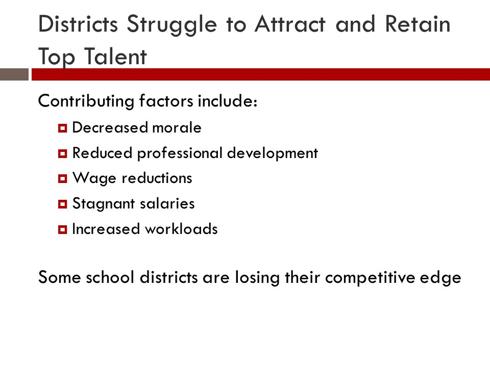 Districts Struggle to Attract and Retain Top Talent Contributing factors include:  Decreased morale  Reduced professional development  Wage reductions  Stagnant salaries  Increased workloads Some school districts are losing their competitive edge