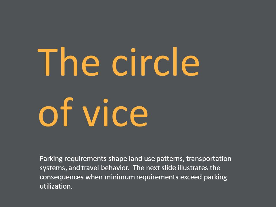 The circle of vice Parking requirements shape land use patterns, transportation systems, and travel behavior. The next slide illustrates the consequen