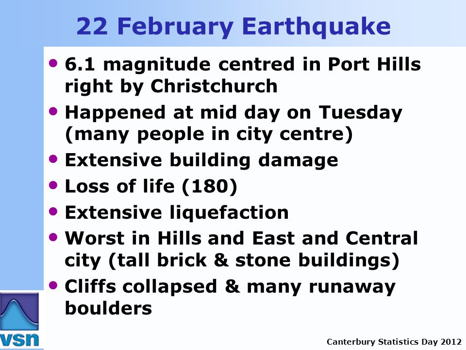 Canterbury Statistics Day 2012 22 February Earthquake 6.1 magnitude centred in Port Hills right by Christchurch Happened at mid day on Tuesday (many people in city centre) Extensive building damage Loss of life (180) Extensive liquefaction Worst in Hills and East and Central city (tall brick & stone buildings) Cliffs collapsed & many runaway boulders