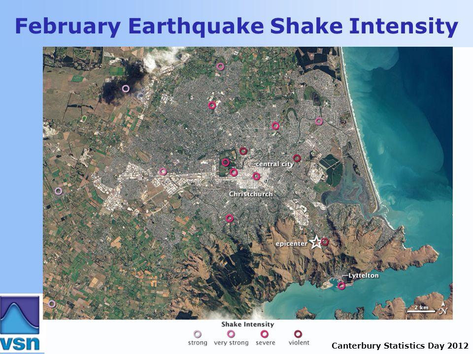 Canterbury Statistics Day 2012 February Earthquake Shake Intensity