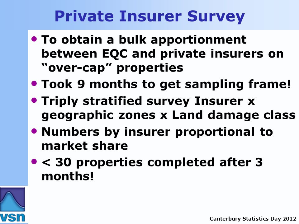 Canterbury Statistics Day 2012 Private Insurer Survey To obtain a bulk apportionment between EQC and private insurers on over-cap properties Took 9 months to get sampling frame.