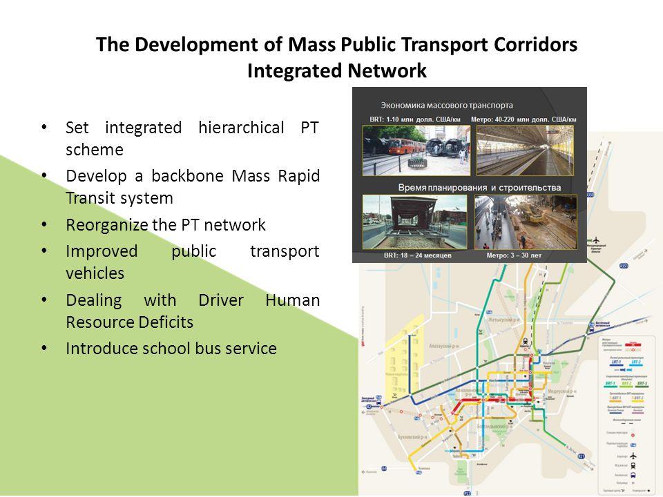 Set integrated hierarchical PT scheme Develop a backbone Mass Rapid Transit system Reorganize the PT network Improved public transport vehicles Dealin