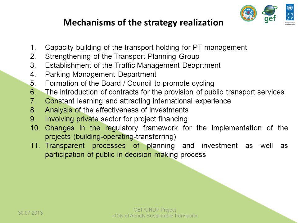 1.Capacity building of the transport holding for PT management 2.Strengthening of the Transport Planning Group 3.Establishment of the Traffic Manageme