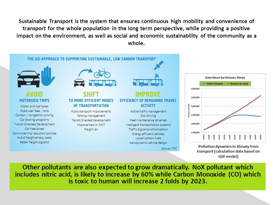 Sustainable Transport is the system that ensures continuous high mobility and convenience of transport for the whole population in the long term persp