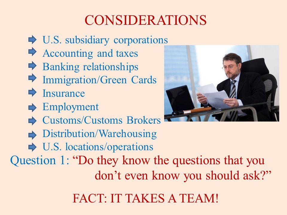 CONSIDERATIONS U.S.