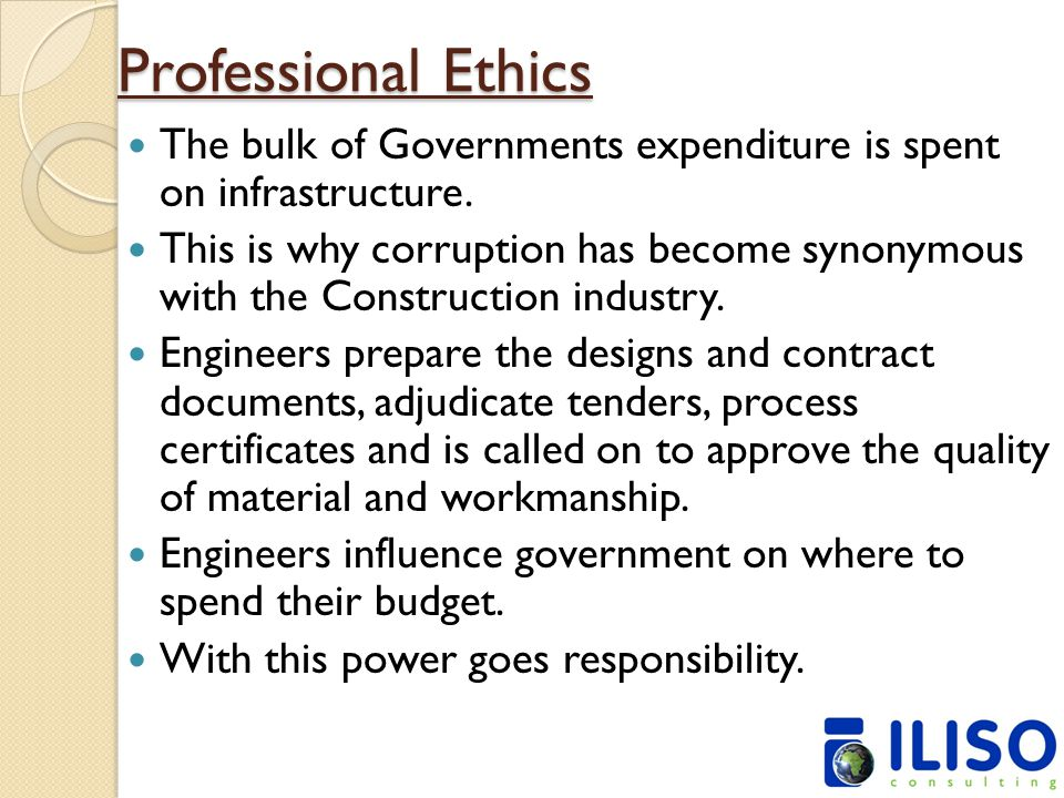 Professional Ethics The bulk of Governments expenditure is spent on infrastructure.