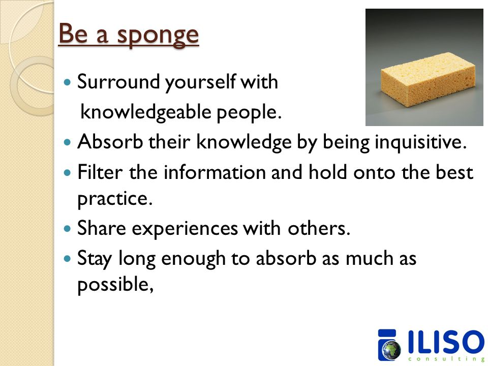 Be a sponge Surround yourself with knowledgeable people.