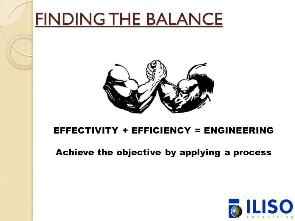 FINDING THE BALANCE EFFECTIVITY + EFFICIENCY = ENGINEERING Achieve the objective by applying a process