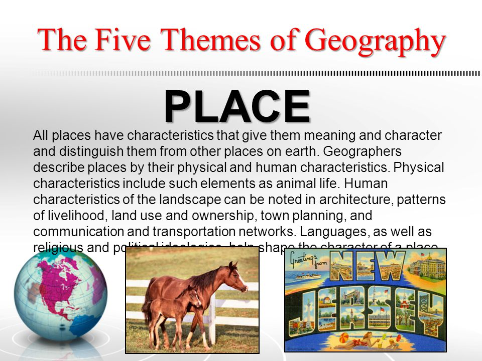 The Five Themes of Geography HUMAN ENVIRONMENT/INTERACTIO N The environment means different things to different people, depending on their cultural backgrounds and technological resources.